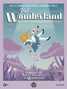 Travel Posters Based On Famous Novels Alice In Wonderland Poster, Adventures In Wonderland, Library Posters, Book Posters, Library Art, Famous Novels, Lewis Carroll, Vintage Travel Posters, Vintage Disney