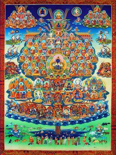 Various depicted manifestations of the Refuge Tree (Guruparampara), Thangka Paintings, Gelug Lineage, nd. Gautama Buddha, Buddha Buddhism, Tibetan Buddhism, Buddha Kunst, Buddha Art, Vajrayana Buddhism, Thangka Painting, Tibetan Art, Psychedelic Art