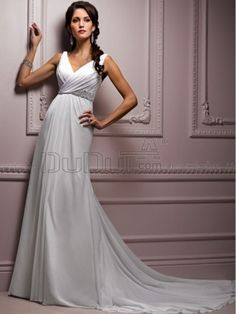 simple wedding dresses with straps | Sheath/ Column Strap Sweep Simple Wedding Dresses With Crystal