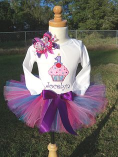 Cupcake BirthdayOutfit with cupcake and number by OMG2Cute on Etsy, $48.95