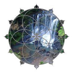 Waterfall Seed of Life Crystal Grid on Canvas