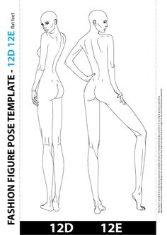 Fashion Body Template Illustration, includes two fashion body templates one from the front and other from side view.