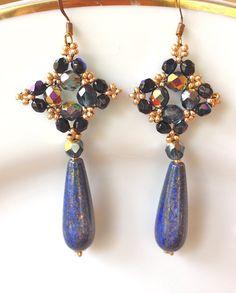 handmade beaded earrings Dangle drop earrings Lapis by fatash1