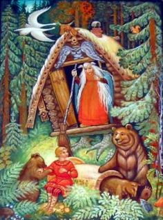 Baba-Yaga and her forest home.  Great link providing information about Baba Yaga