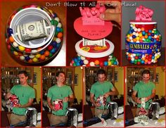 Roll of $ inside jar of gum (for Graham use container of berries)