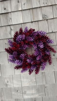 This wreath is just so sweet! With a fresh berry red and a beautiful lavender. My wreaths are so sturdy, each cone individually wrapped twice. Please feel free to message me with any idea! Or if you need a different size. This measures 18 from side to side.