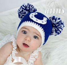 Crocheted Indianapolis Colts Hat by TinyTippyToppers on Etsy, $24.00
