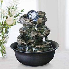 Desktop Water Fountain, Small Water Fountain, Tabletop Water Fountain, Small Fountains, Garden Fountains, Indoor Waterfall Fountain, Indoor Fountain, Feng Shui Fountain, Bathroom Accessories Sets