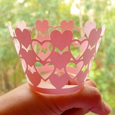 Heart Cupcake Wrappers / Laser Cut Valentines Day Cupcake Wrapper (Pink / 6pcs) Cake Deco Wedding Party Cupcake Decoration Packaging CUP34