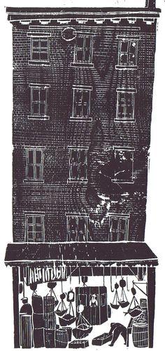 Antonio Frasconi - from The Fulton Fish Market, wood block print, 1953