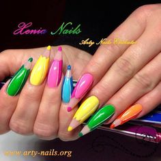I love these colored pencil nails! Making good use of stiletto shaped nails Crazy Nail Art, Crazy Nails, Cute Nail Art, Fancy Nails, Pretty Nails, Weird Nails, Beautiful Nail Designs, Beautiful Nail Art, Cool Nail Designs