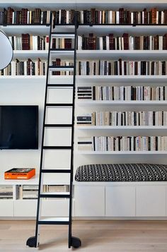 Trendy Home Library Room Diy Ideas Home Library Rooms, Home Library Design, Library Wall, Home Libraries, Library Furniture Design, Library Bedroom, Bookshelf Design, Bookshelves, Bookcase Wall