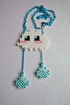 Cute Rain Cloud perler bead Necklace