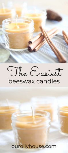 There is nothing like a burning candle in the winter months to cozy up a home. learn how to make the easiest diy beeswax candles with this video tutorial, as well as simple written instructions. Diy Candles Easy, Cute Candles, Homemade Candles, Homemade Lip Balm, Homemade Gifts, Cassia Cinnamon, Pint Mason Jars, Coffee Tin, Do It Yourself Crafts