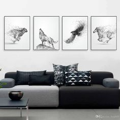 2018 Black White Ink Wild Animal Horse Eagle Wolf Poster Nordic Living Room Wall A4 Art Print Picture Home Deco Canvas Painting No Frame From Lyq669, $17.09 | Dhgate.Com