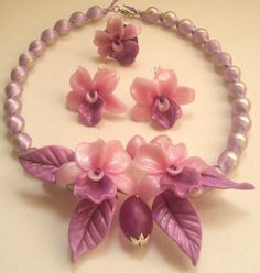 Handmade orchid jewellery set Lavender jewelleryPearl by insou, $40.00