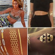 Beyonce with Flash Tattoos Gold Tattoo, Metal Tattoo, Body Tattoos, Temporary Tattoos, Beyonce, Two Piece Skirt Set, Celebs, Crop Tops, Best Deals