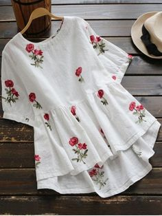 Floral Embroidered High Low Blouse - WHITE L