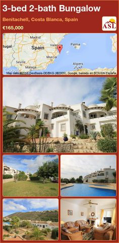 Bungalow for Sale in Benitachell, Costa Blanca, Spain with 3 bedrooms, 2 bathrooms - A Spanish Life Murcia, Bungalows For Sale, Private Garden, Double Bedroom, Open Plan Living, Spanish, Mansions, Bathroom, House Styles