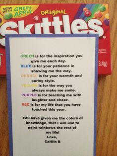 Poem for teacher using skittles
