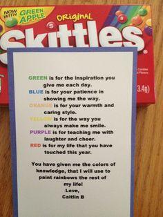 Poem for teacher using skittles