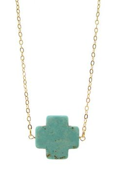 Turquoise Cross Pendant Necklace - simple and beautiful.  Would also be nice with the cross shape from dakotastones.com