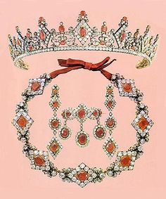 Saxe Coburg ruby and diamond parure, consisting of a tiara, a pair of earrings, a necklace, a devant de corsage