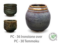 AMACO Potter's Choice layered glazes PC-30 Temmoku and PC-36 Ironstone.