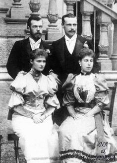 Nicholas (Tsar Nicholas II, nephew of Queen Alexandra of England), Alexandra (Alix of Hess, daughter of Princess Alice of Hess and grand-daughter to Victoria), Princess Victoria Melita (daughter of Prince Alfred, Victoria's grand-daughter, born at San Anton Palace, in Malta) and Ernest Louis. Alix and Victoria Melita were first cousins.