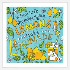 Lemonade Print 8x8, by Jen Skelley. Now featured on Fab.