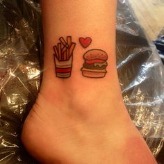 Tiny burger and fries tattoo