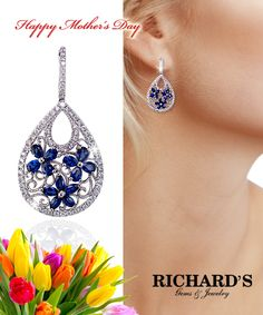 Pear shape sapphire flower and diamond drop earrings in 18k white gold