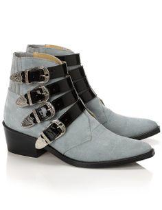297b51db40c Aqua Suede Buckled Boots