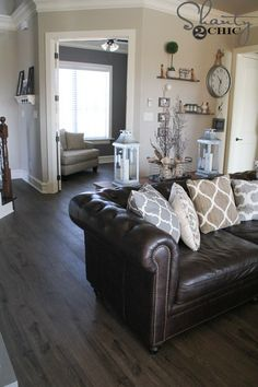 matching colors with walls and furniture family room pinterest rh pinterest com  living room paint ideas with dark brown leather furniture