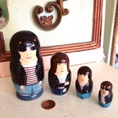 Teeny tiny hand-painted Ramones nesting doll tribute set from @bobobabushka  just landed in-store, along with a little penny for scale!  {available in store only}