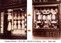 Downton Fashion - Evolution-in-womens-underwear-1912-to-1926-illustration. Two photographs of corset shops taken in the fashionable Boulevard de Strasbourg Paris – the first in 1912 – the second in 1926, illustrate the changes to women's undergarments