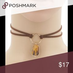 """SUEDE CHOKER NECKLACE WITH STONE PENDANT Trendy Suede Leather Choker Necklace with Amber Stone Semi-precious stone 13"""" Length with 3"""" Extender   NO TRADES Southern Charm Boutique Jewelry Necklaces"""