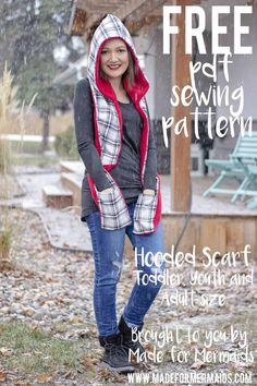 FREE Hooded Scarf in Toddler, Youth & Adult SizesYou can find Hooded scarf and more on our website.FREE Hooded Scarf in Toddler, Youth & Adult Sizes Hooded Scarf Pattern, Fleece Poncho, Crochet Hooded Scarf, Fleece Hat Pattern, Scarf Patterns, Knit Cowl, Hood Pattern Sewing, Sewing Patterns Free, Free Sewing