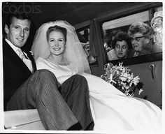 Actress Juliet Mills and actor Russell Alquist drive off after their wedding, 14th October 1961 in Cowden, Kent, England, 1961.