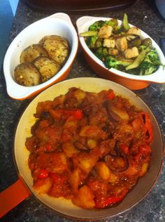 """Tapas: patatas bravas, garlic mushrooms and lemon """"chicken""""* with broccoli and olives. *oh alright, quorn."""