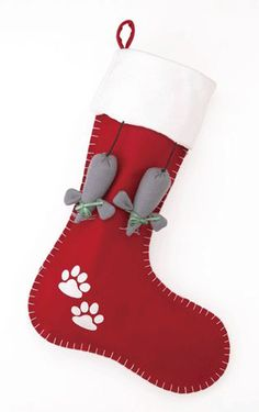 "Scalloped Felt Cat Mice Christmas Stocking - 12"" x 20"""
