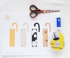 * Kitty Magnet Bookmarks by wildolive, via Flickr - free printable kitty pattern - plus you need cardstock, scissors, magnet tape and glue stick