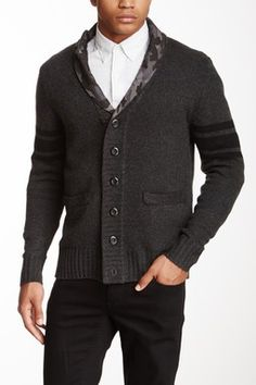 Seduka Contrast Collar Long Sleeve Cardigan