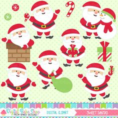 Sweet Santas Clipart - Chrismtas clipart for crafts, scrapbooking, cardmaking and more.