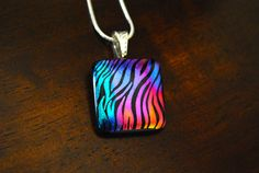 Pendant  Necklace  Dichroic Glass  Fused Glass by mkmcmanus