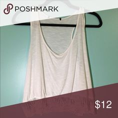 BOHO WHITE TANK TOP sheer white tank top with lace detailing on the bottom, purchased from forever 21, in a size large, but fits like a medium!! thank you! :) ask any questions in the comments below! Forever 21 Tops Tank Tops