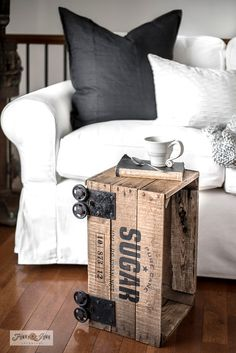 Learn how to stencil this Pure Sugar-themed vintage crate into an industrial side table with Funky Junk's Old Sign Stencils and Fusion Mineral Paint! Coffee Stencils, Sign Stencils, Pallet Crates, Old Pallets, Industrial Side Table, Industrial Signs, Diy Pallet Furniture, Repurposed Furniture, Cozy Sofa