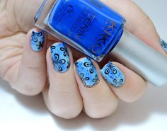 Saran wrap fleuri - blue floral saran wrap nails - nailart - stamping - Dream Girl 02