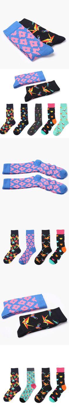 New Style Men Winter Warm Socks Funny Creative Thick Long Socks Women Unisex bird heart star coconut trees pattern socks soks