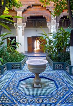 Bing.com Secret Gardens, Hidden Courtyards: Bahia Palace, Marrakesh, Morocco. Love the colours, I bet this is amazing rain or shine. ooooooo